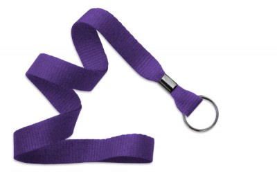 "Purple 5/8"" (16 mm) Lanyard w/ Black-Oxide Split Ring (1000/Pkg)"