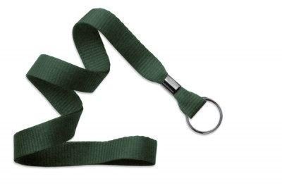 "Forest Green 5/8"" (16 mm) Lanyard w/ Black-Oxide Split Ring (1000/Pkg)"