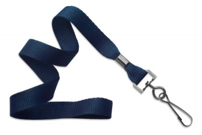 "Navy Blue 5/8"" (16 mm) Lanyard w/ Black-Oxide Swivel Hook (1000/Pkg)"
