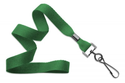 "Green 5/8"" (16 mm) Lanyard w/ Black-Oxide Swivel Hook (1000/Pkg)"