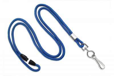 "Royal Blue Breakaway Lanyard 1/8"" (3 mm) w/ Nickel-Plated Steel Swivel-Hook (100/Pkg)"