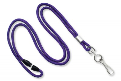 "Purple Round 1/8"" (3 mm) Lanyard w/ Breakaway & Nickel Plated Steel Swivel-hook (100/Pkg)"