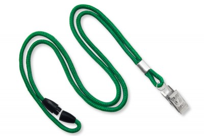 "Green Round 1/8"" (3mm) Lanyard w/ Breakaway & Nickel Plated Steel Bulldog Clip (100/Pkg)"