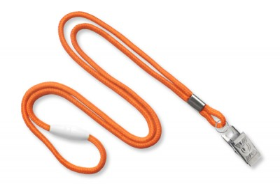 "Orange Round 1/8"" (3mm) Lanyard w/ Breakaway & Nickel Plated Steel Bulldog Clip (100/Pkg)"