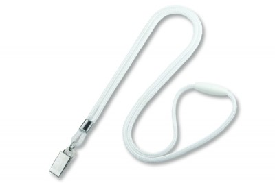 "White Round 1/8"" (3mm) Lanyard w/ Breakaway & Nickel Plated Steel Bulldog Clip (100/Pkg)"