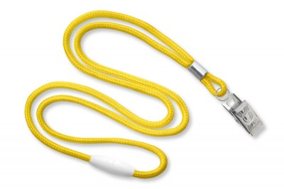 "Yellow Round 1/8"" (3mm) Lanyard w/ Breakaway & Nickel Plated Steel Bulldog Clip (100/Pkg)"