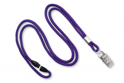 "Purple Round 1/8"" (3mm) Lanyard w/ Breakaway & Nickel Plated Steel Bulldog Clip (100/Pkg)"