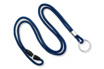 "Navy Blue Round 1/8"" (3mm) Lanyard w/ Breakaway & Nickel Plated Split Ring (100/Pkg)"