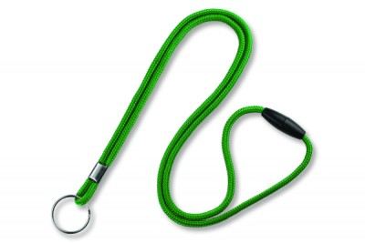 "Green Round 1/8"" (3mm) Lanyard w/ Breakaway & Nickel Plated Split Ring (100/Pkg)"