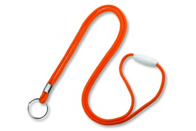 "Orange Round 1/8"" (3mm) Lanyard w/ Breakaway & Nickel Plated Split Ring (100/Pkg)"