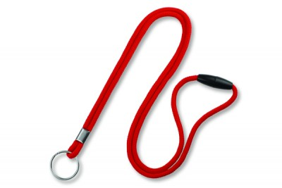 "Red Round 1/8"" (3mm) Lanyard w/ Breakaway & Nickel Plated Split Ring (100/Pkg)"