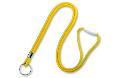"Yellow Round 1/8"" (3mm) Lanyard w/ Breakaway & Nickel Plated Split Ring (100/Pkg)"