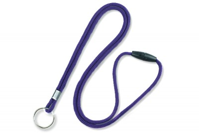 "Purple Round 1/8"" (3mm) Lanyard w/ Breakaway & Nickel Plated Split Ring (100/Pkg)"