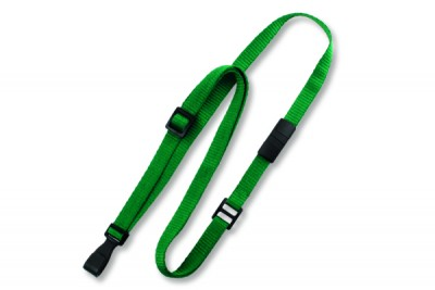 "Green 3/8"" (10 mm) Flat Adjustable Breakaway Lanyard w/ Slide Adjuster & ""No-Twist"" Wide Plastic Hook (100/Pkg)"