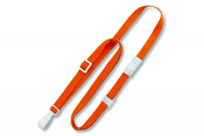 "Orange 3/8"" (10 mm) Flat Adjustable Breakaway Lanyard w/ Slide Adjuster & ""No-Twist"" Wide Plastic Hook (100/Pkg)"