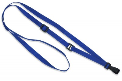 "Royal Blue Flat Adjustable Breakaway Lanyard 3/8"" (10 mm) w/ Slide Adjuster & ""No-Twist"" Wide Plastic Hook (100/Pkg)"