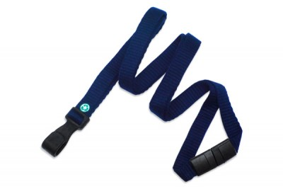"Navy Blue Bamboo 3/8"" (10 mm) Lanyard w/ Breakaway & ""No-Twist"" Wide Plastic Hook (100/Pkg)"