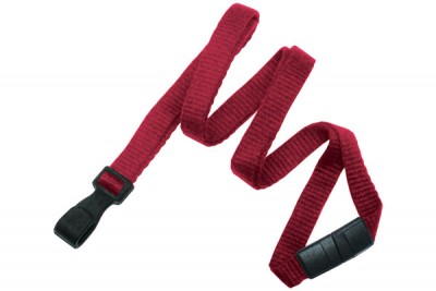 "Red Bamboo 3/8"" (10 mm) Lanyard w/ Breakaway & ""No-Twist"" Wide Plastic Hook (100/Pkg)"