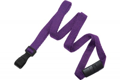 "Purple Bamboo 3/8"" (10 mm) Lanyard w/ Breakaway & ""No-Twist"" Wide Plastic Hook (100/Pkg)"
