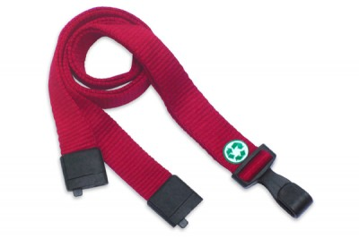 "Red Bamboo 5/8"" (16 mm) Lanyard w/ Breakaway & ""No-Twist"" Wide Plastic Hook (1000/Pkg)"
