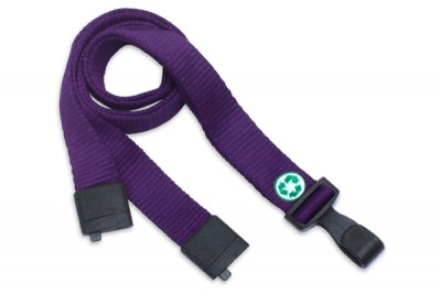 "Purple Bamboo 5/8"" (16 mm) Lanyard w/ Breakaway & ""No-Twist"" Wide Plastic Hook (1000/Pkg)"