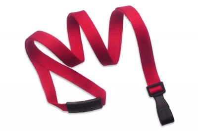 "Red 3/8"" (10 mm) Lanyard w/ Breakaway & ""No-Twist"" Wide Plastic Hook (100/Pkg)"