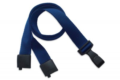 "Navy Blue 5/8"" (16 mm) Lanyard w/ Breakaway & ""No-Twist"" Wide Plastic Hook (100/Pkg)"