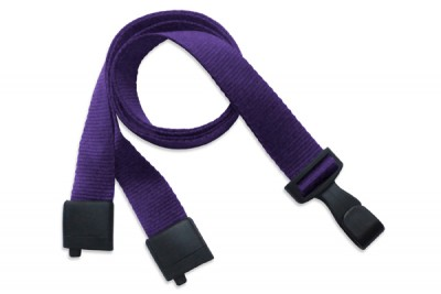 "Purple 5/8"" (16 mm) Lanyard w/ Breakaway & ""No-Twist"" Wide Plastic Hook (1000/Pkg)"