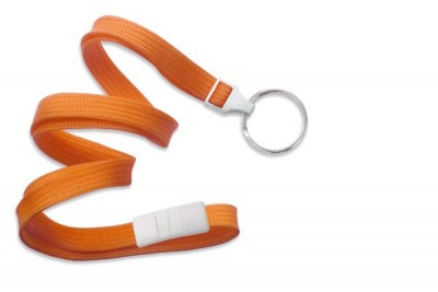 "Orange 3/8"" (10 mm) Breakaway Lanyard w/ Nickel-Plated Steel Split Ring (100/Pkg)"