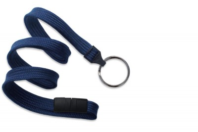 "Navy Blue 3/8"" (10 mm) Breakaway Lanyard w/ Black-Oxide Split Ring (1000/Pkg)"