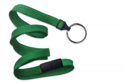"Green 3/8"" (10 mm) Breakaway Lanyard w/ Black-Oxide Split Ring (1000/Pkg)"