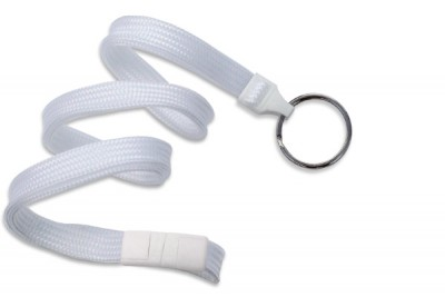 "White 3/8"" (10 mm) Breakaway Lanyard w/ Black-Oxide Split Ring (1000/Pkg)"