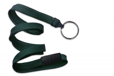 "Forest Green 3/8"" (10 mm) Breakaway Lanyard w/ Black-Oxide Split Ring (1000/Pkg)"