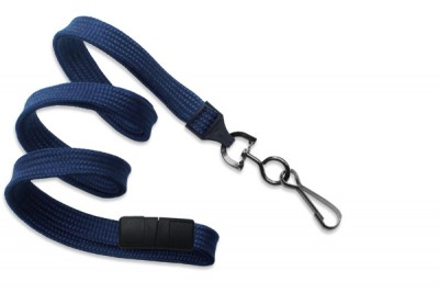 "Navy Blue 3/8"" (10 mm) Breakaway Lanyard w/ Black Oxide Swivel Hook (1000/Pkg)"