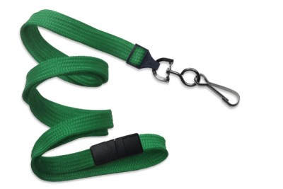 "Green 3/8"" (10 mm) Breakaway Lanyard w/ Black Oxide Swivel Hook (1000/Pkg)"