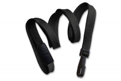 "Black Breakaway Lanyard 3/8"" (10 mm) w/ Narrow Plastic Hook (100/Pkg)"