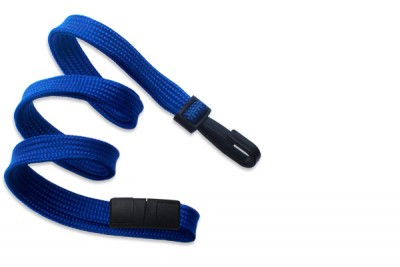 "Royal Blue 3/8"" (10 mm) Breakaway Lanyard w/ Narrow Plastic Hook (100/Pkg)"
