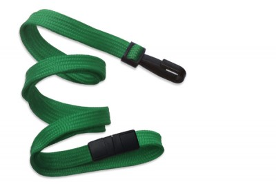 "Green 3/8"" (10 mm) Breakaway Lanyard w/ Narrow Plastic Hook (100/Pkg)"