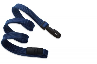 "Navy Blue 3/8"" (10 mm) Breakaway Lanyard w/ Narrow Plastic Hook (100/Pkg)"