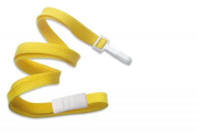 "Yellow 3/8"" (10 mm) Breakaway Lanyard w/ Narrow Plastic Hook (100/Pkg)"