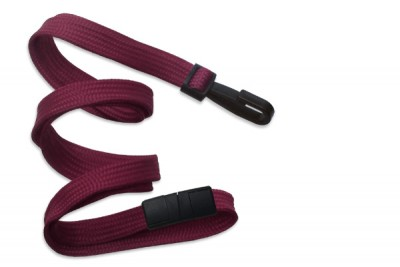 "Maroon 3/8"" (10 mm) Breakaway Lanyard w/ Narrow Plastic Hook (100/Pkg)"