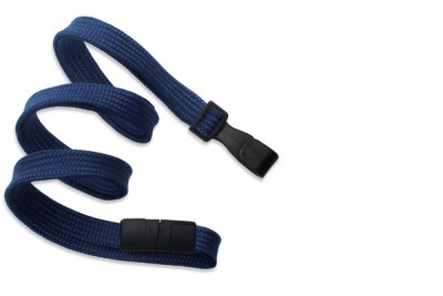 "Navy Blue 3/8"" (10 mm) Breakaway Lanyard w/ Wide Plastic Hook (100/Pkg)"