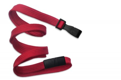 "Red Breakaway Lanyard 3/8"" (10 mm) w/ Wide Plastic Hook (100/Pkg)"