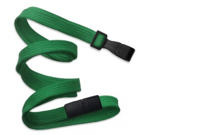 "Green 3/8"" (10 mm) Breakaway Lanyard w/ Wide Plastic Hook (100/Pkg)"