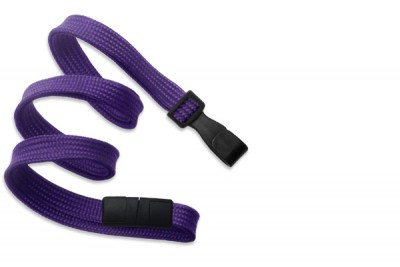 "Purple Breakaway Lanyard 3/8"" (10 mm) w/ Wide Plastic Hook (100/Pkg)"