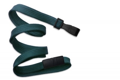 "Teal 3/8"" (10 mm) Breakaway Lanyard w/ Wide Plastic Hook (100/Pkg)"