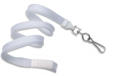 "White 3/8"" Breakaway Lanyard w/ Nickel-Plated Steel Swivel Hook (100/Pkg)"