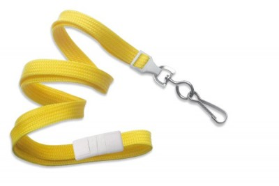"Yellow Breakaway Lanyard 3/8"" (10 mm) w/ Nickel-Plated Steel Swivel Hook (100/Pkg)"