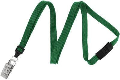 "Green Breakaway Lanyard 3/8"" (10 mm) w/ Nickel-Plated Steel Bulldog Clip (100/Pkg)"