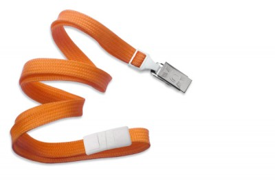 "Orange 3/8"" (10 mm) Breakaway Lanyard w/ Nickel-Plated Steel Bulldog Clip (100/Pkg)"